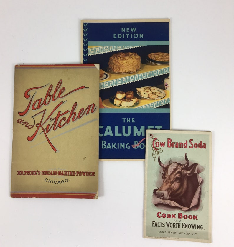 Three Vintage Cook Booklets for Baking Powder and Baking Soda, Cow Brand  Soda, Dr  Prices Baking Powder, Calument Baking Powder