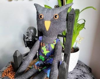 Black Halloween Owl Doll