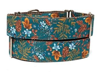 Martingale dog collar FALL FLORAL design, adjustable no-slip training collar, floral dog collar, autumn dog collar, fall foliage dog collar