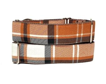 Rust plaid martingale dog collar, orange plaid dog collar, no slip collar, brown plaid collar