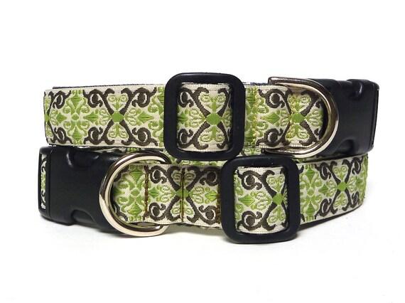 Collier pour chien, collier de CAMELOT, col de tag, boucle de col, col de la maison, collier vert olive, renaissance collier, collier médiéval, dog tag collier