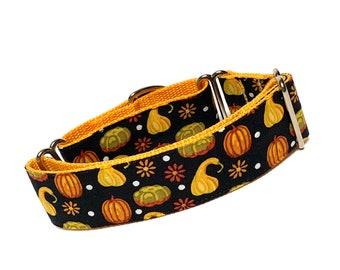 Martingale dog collar FALL HARVEST design, adjustable no-slip training collar, pumpkin dog collar, autumn dog collar, pumpkin martingale