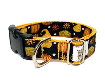 FALL HARVEST dog collar with buckle, adjustable dog collar, fall foliage dog collar, pumpkin patch collar, pumpkin dog collar