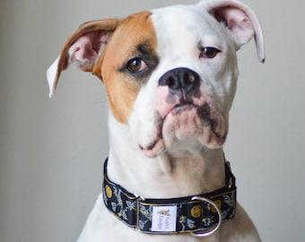 Martingale dog collar with CHERRY BLOSSOMS design, adjustable no-slip training collar, greyhound or sighthound collar