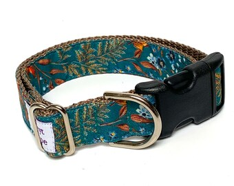 Blue fall floral dog collar with buckle, adjustable dog collar, fall foliage dog collar