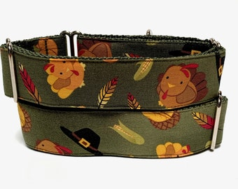 Thanksgiving martingale dog collar in olive green with turkeys feathers and pilgrim hats, turkey dog collar, fall dog collar