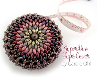 SuperDuo Beaded Tape Measure Cover Tutorial by Carole Ohl