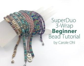 SuperDuo Chain Wrap Bracelet Tutorial by Carole Ohl