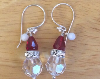 467b08993 Sterling Silver Swarovski Santa Earrings, Swarovski Holiday Earrings