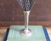 Vintage Silver Vase with Feathers