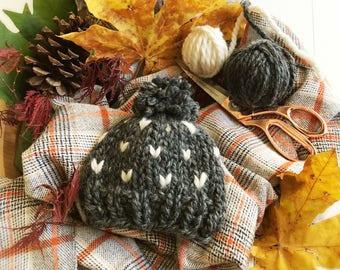 Hat Fair Isle Chunky Pom Pom Knit, Hand Knit, Chunky