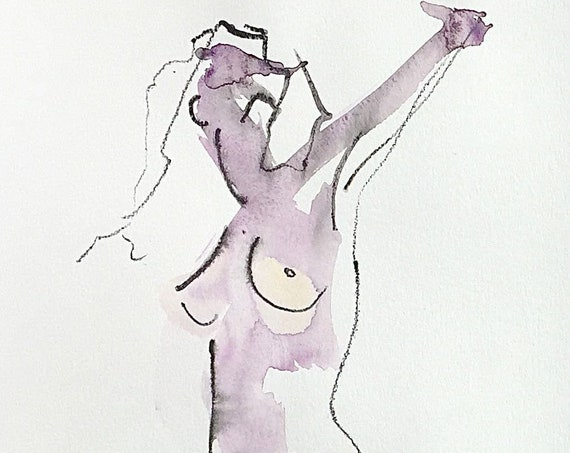 Nude painting of One minute pose 122.3 - Original watercolor painting by Gretchen Kelly, wall art, home decor