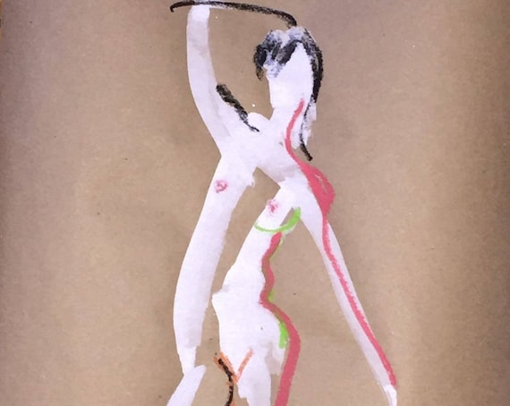 Nude painting of One minute pose 101.3- Original painting by Gretchen Kelly