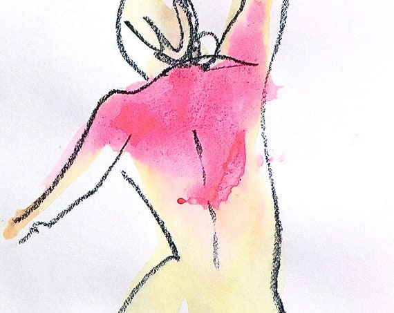 Nude painting- One minute pose 120.2 -original watercolor by Gretchen Kelly