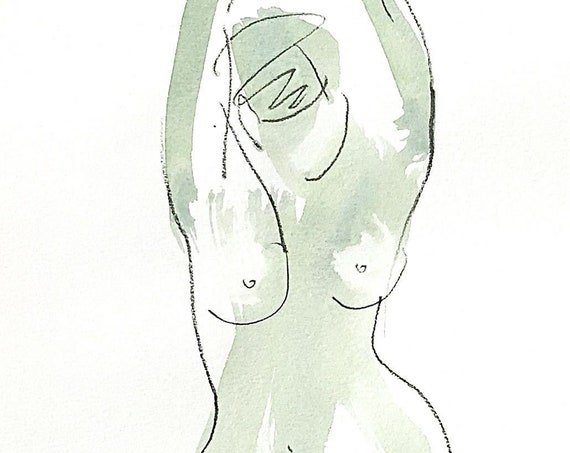 Nude painting of One minute pose 123.3 - Original nude painting by Gretchen Kelly