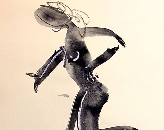 Nude painting of One minute pose 111.3,nude art, original, gesture sketch by Gretchen Kelly