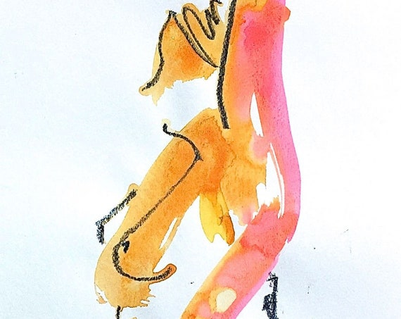 Nude painting- One minute pose 120.3 -original watercolor by Gretchen Kelly