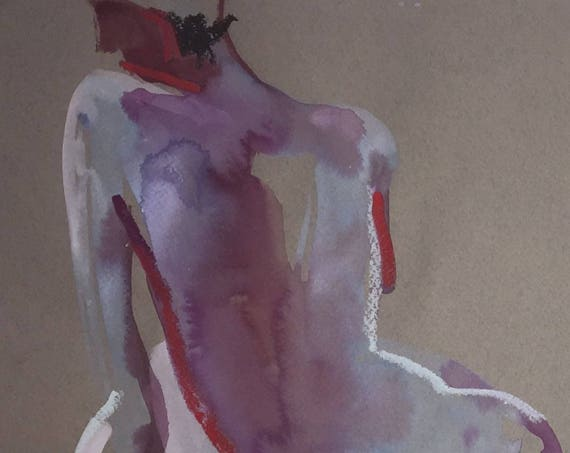 Nude painting- Original watercolor painting of Nude #1502 by Gretchen Kelly
