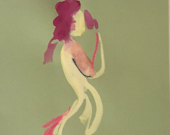 Nude painting of One minute pose 126.6 - Original watercolor painting by Gretchen Kelly