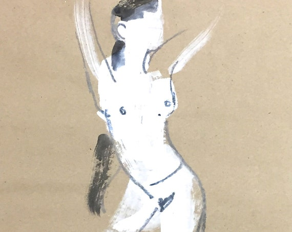 Nude painting of One minute pose 97.5 - Original painting by Gretchen Kelly