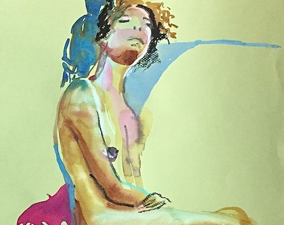 Nude painting- Original watercolor painting of Nude #1568 by Gretchen Kelly