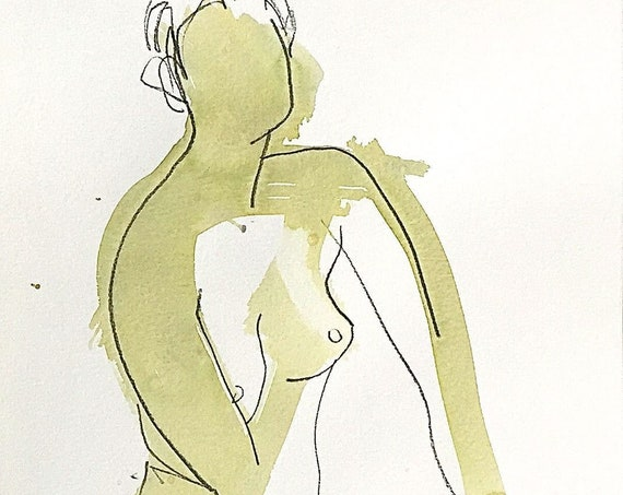 Nude painting of One minute pose 123.2 - Original nude painting by Gretchen Kelly