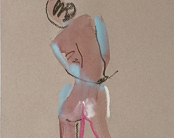 Nude painting of One minute pose 113.2 nude art, original, gesture sketch by Gretchen Kelly
