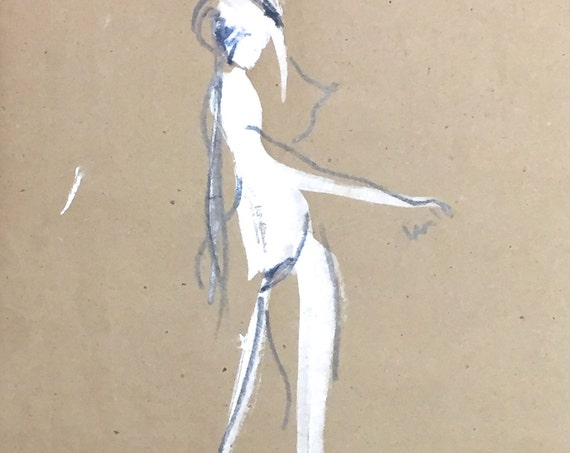Nude painting of One minute pose 97.3 - Original painting by Gretchen Kelly