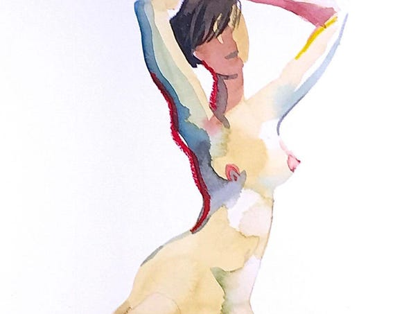 Nude painting- Original watercolor painting of Nude #1396 by Gretchen Kelly