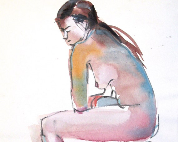 Nude painting- Original watercolor painting of Nude #1371 by Gretchen Kelly