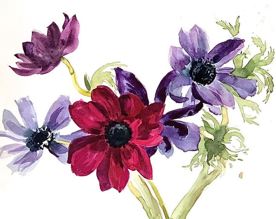 Original floral watercolor painting -Purple Anemones