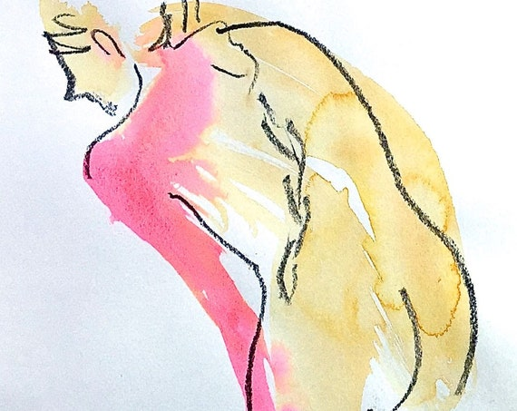 Nude painting- One minute pose 120.5 -original watercolor by Gretchen Kelly