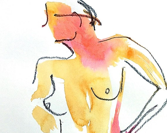 Nude painting- One minute pose 120.7 -original watercolor by Gretchen Kelly