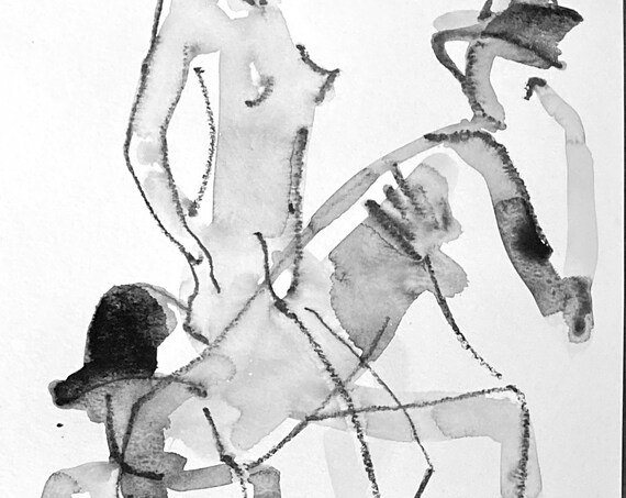Nude painting of One minute pose group 145.1 - Original watercolor painting by Gretchen Kelly, wall art, home decor