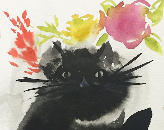 Original Watercolor painting of Black Cat with Flowers