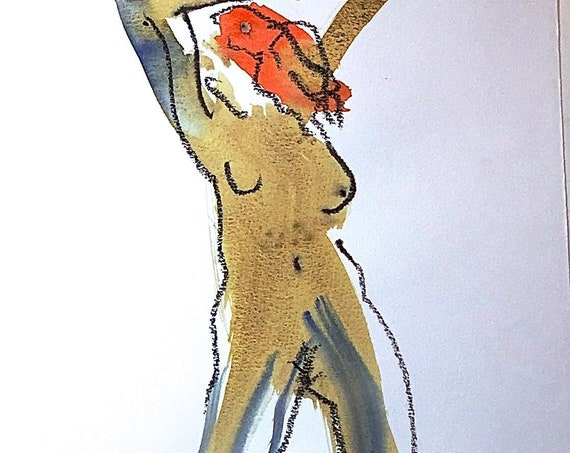 Nude painting of One minute pose 116.1 - Original watercolor painting by Gretchen Kelly