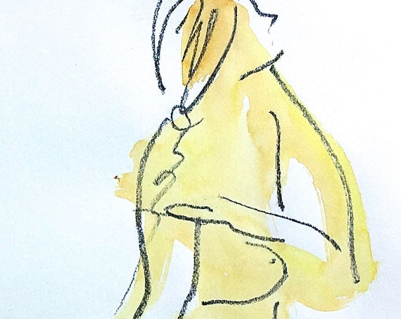Nude painting- One minute pose 120.4 -original watercolor by Gretchen Kelly