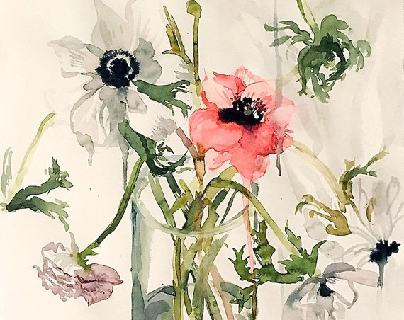 Original floral watercolor painting -Anemone Bouquet