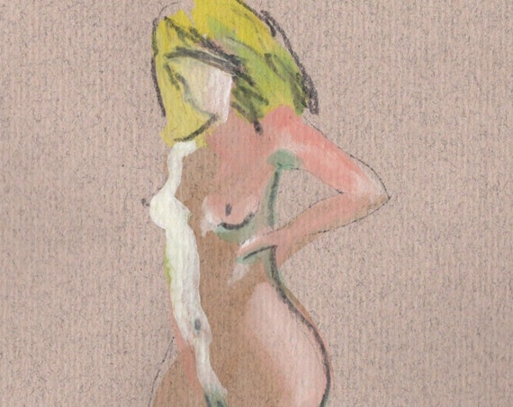 Watercolor graphite painting of MINI NUDE 53- original  by Gretchen Kelly