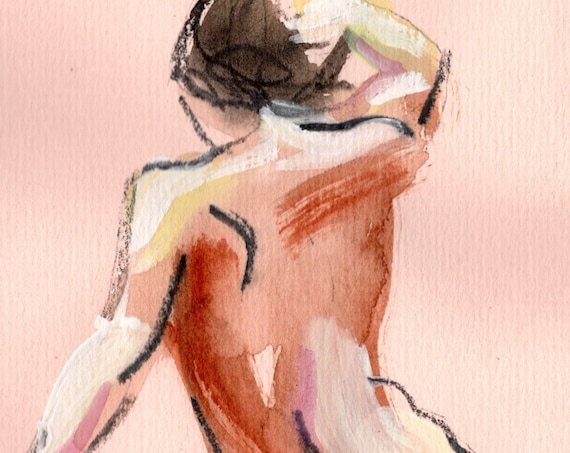 MINI NUDE 51- original watercolor painting by Gretchen Kelly