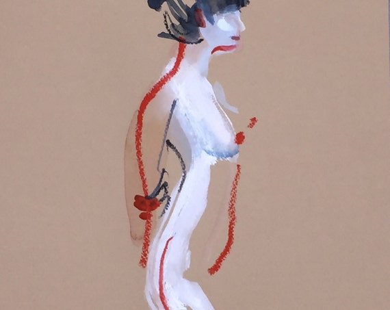 Nude painting- One Minute Pose 98.5 -painted sketch by Gretchen Kelly