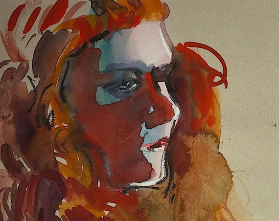 Red Hot portrait- original watercolor portrait painting by Gretchen Kelly