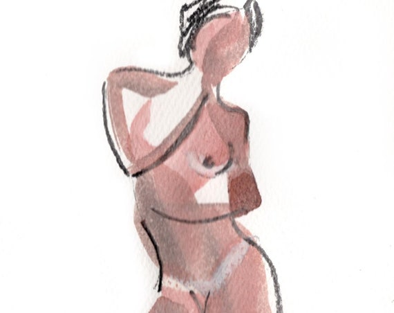 Watercolor graphite painting of MINI NUDE 63- original  by Gretchen Kelly
