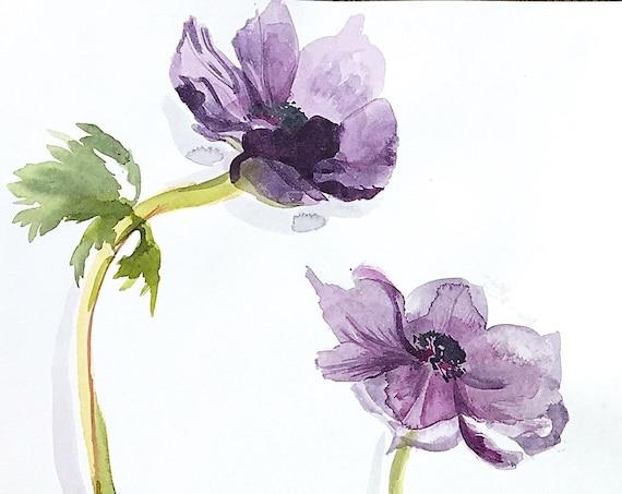 Original floral watercolor painting -Two Purple Anemones