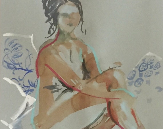 Nude painting- Original watercolor painting of Nude #1675 by Gretchen Kelly