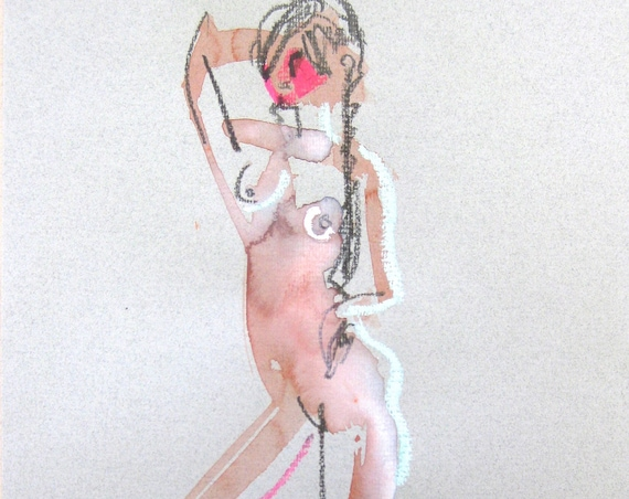 Nude painting of One minute pose 105.2 - Original nude painting by Gretchen Kelly