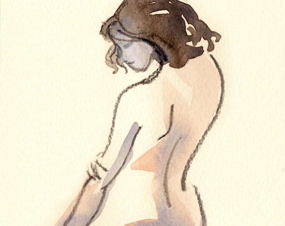 Watercolor graphite painting of MINI NUDE 60- original  by Gretchen Kelly