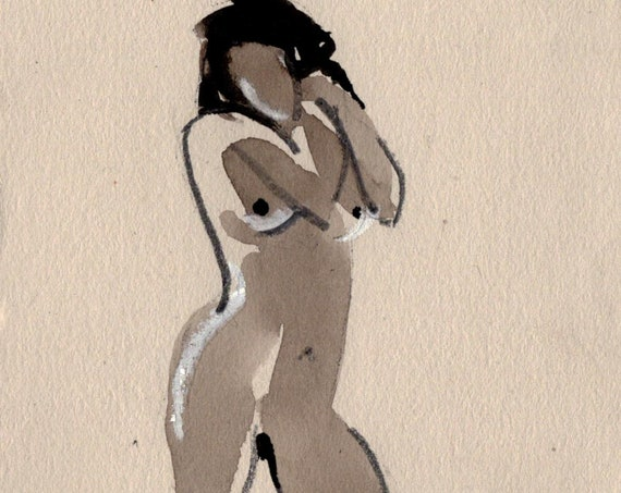 Watercolor graphite painting of Watercolor graphite painting of MINI NUDE 62 by Gretchen Kelly