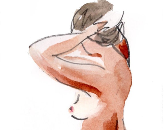 MINI NUDE 55- original watercolor painting by Gretchen Kelly
