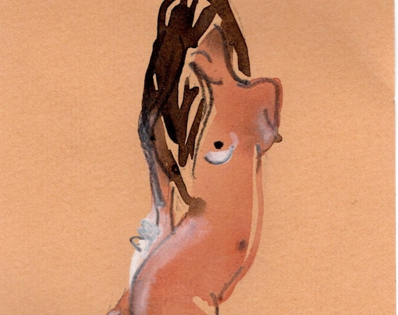 Watercolor graphite painting of MINI NUDE 64- original  by Gretchen Kelly